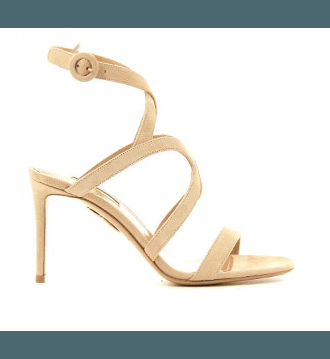 Sandales fines en veau velours nude Aquazzura - MORENA SANDAL85