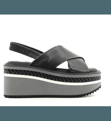 Sandales plateformes en cuir noir OMIN NOIR - Robert Clergerie