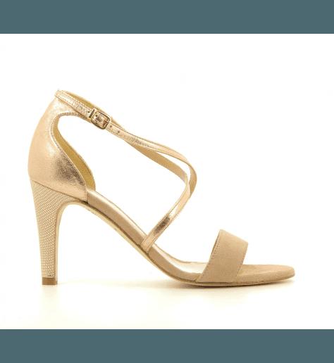 Sandales à talons en cuir argent et doré CALVI - Créatis Garrice Collection