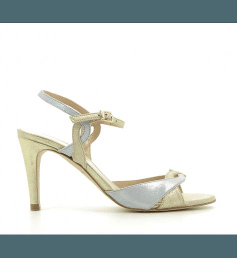 Sandales à talons en cuir doré et argent CESAR- Créatis Garrice Collection