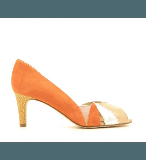 Escarpins vintage à talons ZAMBIE orange- Créatis Garrice collection