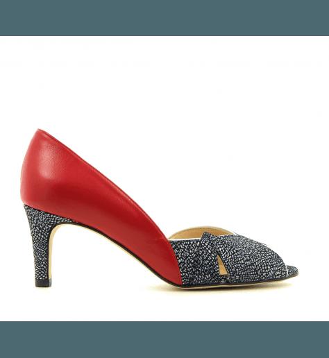 Escarpins vintage à talons ZAMBIE rouge et noir - Créatis Garrice collection
