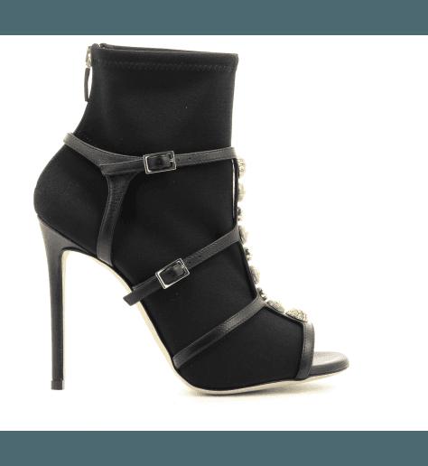 Bottines open-toe à talons noirs 402 stretch - GreyMer