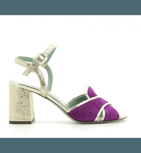 Sandales à talon en veau velour prune D1412 - Paola D'arcano