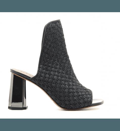 Mule à talon en tissu raphia noir ZINAP - Robert Clergerie