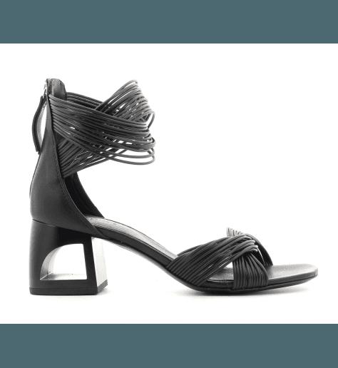 Sandales en cuir noir à talon structuré Vic Matié - 6550D