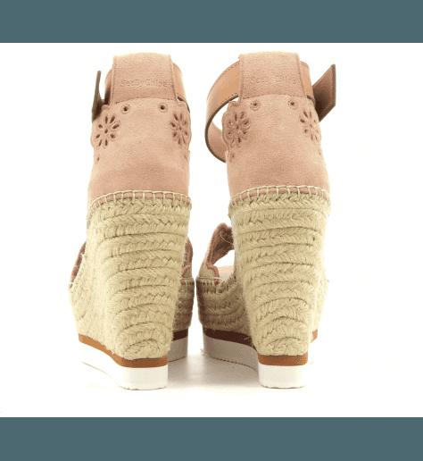 Sandales compensées rose nude en veau velour et raffia See By Chloe - SB30202N