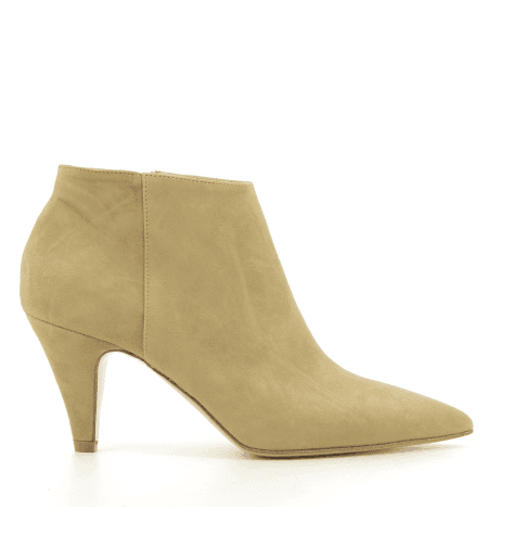 Bottines en veau velour camel EF601N- Garrice Collection