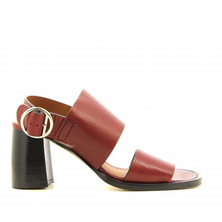 Sandales en cuir bordeaux style 70's  par Joseph - JO30001B
