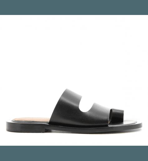 Mules sandales plates en cuir noir Joseph - JO30006
