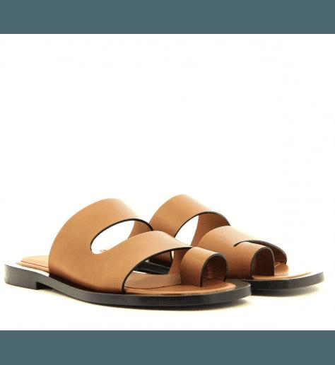 Mules sandales plates en cuir camel Joseph - JO30006C