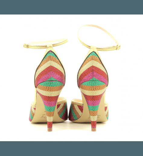 Sandales à talon et bride cheville en satin multicolore Lenora - LISA MULTI