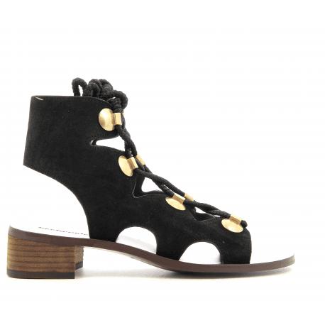 Sandales plates en suede noir et lacets SB28231B - See By Chloé