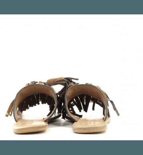 Mules sandales plates en cuir marron et ponpons See By Chloe - SB30101