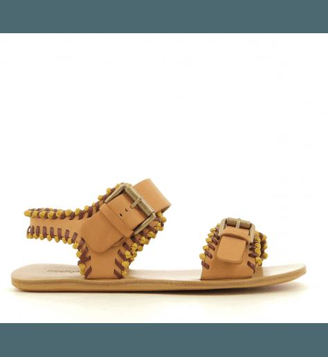 Sandales plates en cuir camel See By Chloe - SB30171