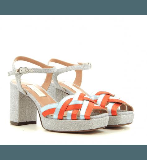 Sandales styles 70's à talon et patin multicolore L'autre chose - OSG172
