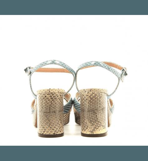 Sandales styles 70's à talon et patin en python L'autre chose - OSG159