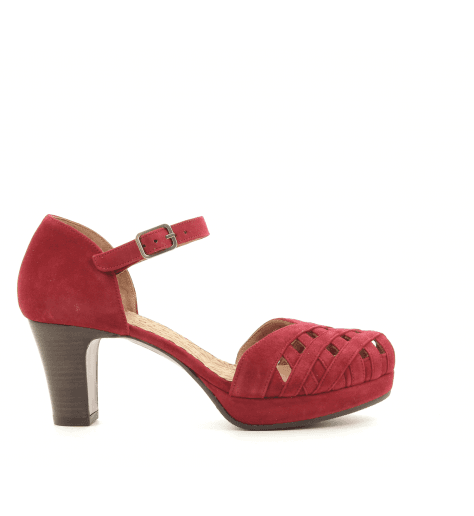 Escarpins petits talons en veau velour rouge IRMA32- Chie Mihara