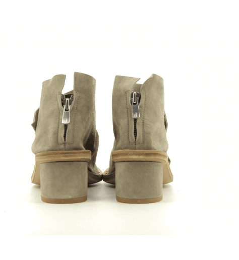Sandales petit talon en veau velour taupe kaki Officine Creative - SEPHORA 001T