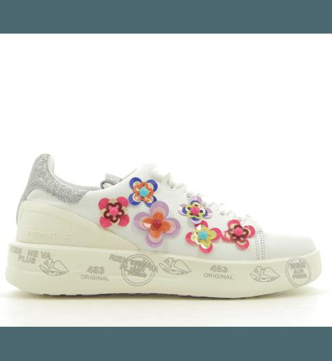 Sneakers en cuir blanc et fleurs à semelles épaisses PREMIATA - BELLE 3008