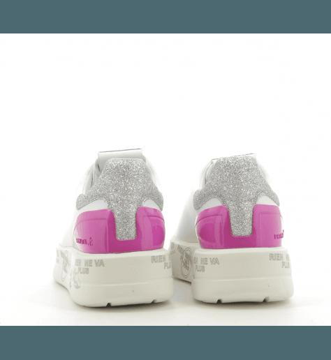 Sneakers en cuir blanc et violet à semelles épaisses PREMIATA - BELLE 3015