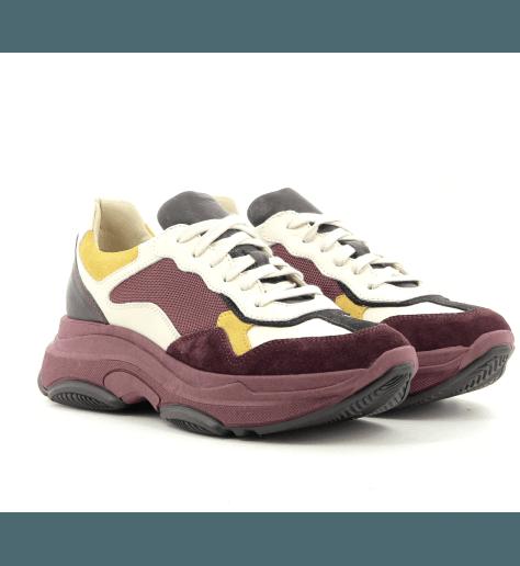 Sneakers à semelle épaisse en cuir Bordeau LEMARE shoes - 1820B