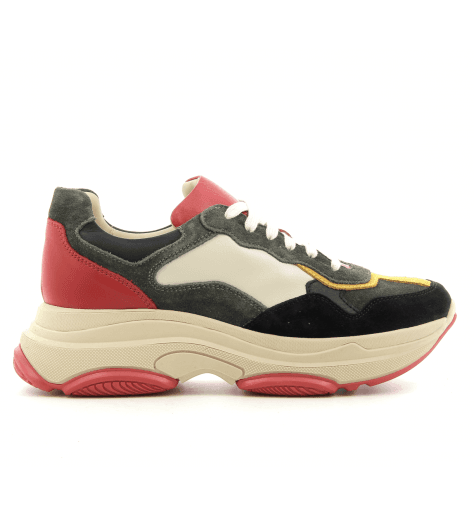 Sneakers à semelle épaisse en cuir kaki LEMARE shoes - 1820K