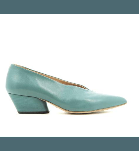 Escarpins pointus en cuir bleu turquoise Halmanera - JULIENNE06B
