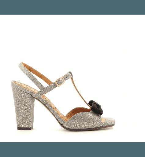 Sandales en veau velours moucheté argent avec nœuds noir  Chie Mihara - BRAILE