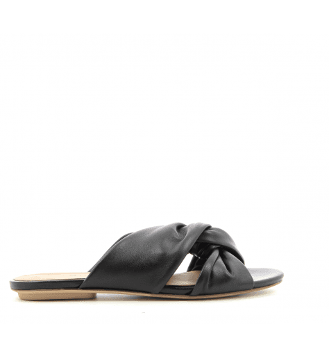 Sandales Mules plates en cuir noir Chie Mihara - Yavana