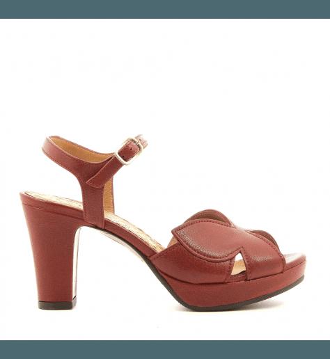 Sandales à talons avec plateformes en cuir brique Chie Mihara - EBISA