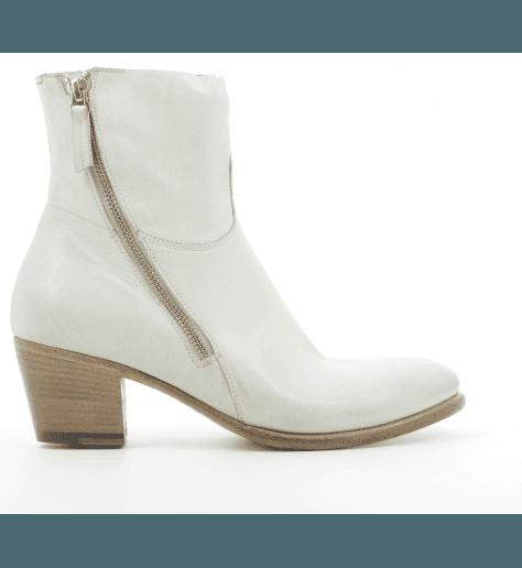 Bottines à talons bottier en cuir blanc offwhite Silvano Sassetti - 4091