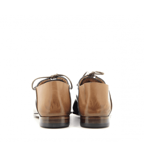 Derbies / mules plats en cuir glacé marine et camel Silvano Sassetti - 9707B