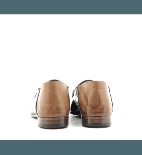 Mocassins / mules plats en cuir glacé vert et camel Silvano Sassetti - 9710V
