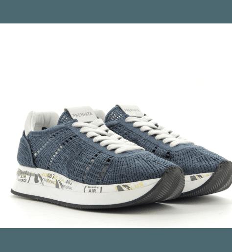 Sneakers à semelles épaisses en crochet bleu marine CONNY 1955 - Premiata
