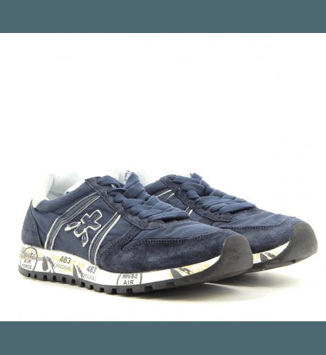 Sneakers plates en toile et cuir bleu marine Premiata - SKY 3107