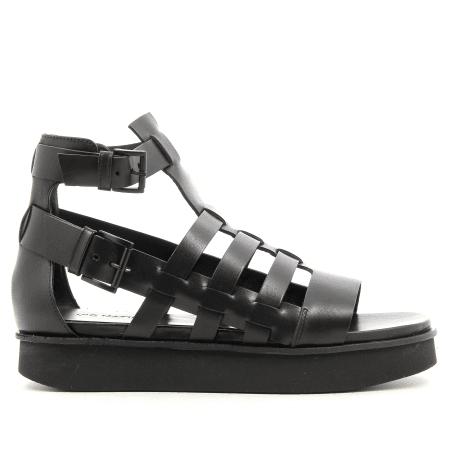Sandales à semelles épaisses style spartiate en cuir noir Vic Matié - 6512D