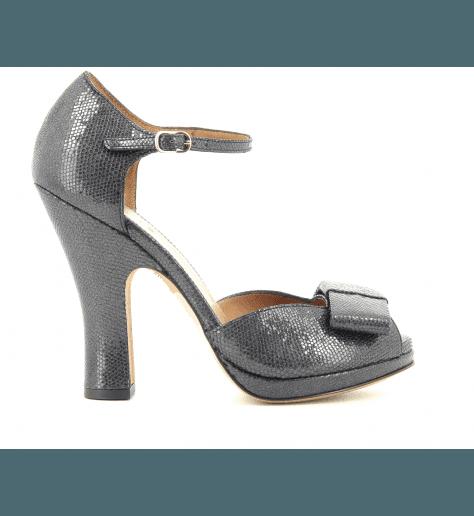 Sandales à talons en cuir noir irisé COLINA - Chie Mihara