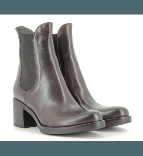Bottines talon en cuir bordeau 4820BORD- Garrice Collection
