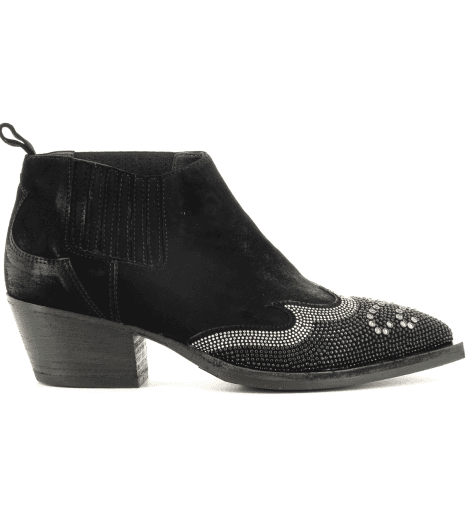 Bottines en veau velours noir 5208- Garrice Collection