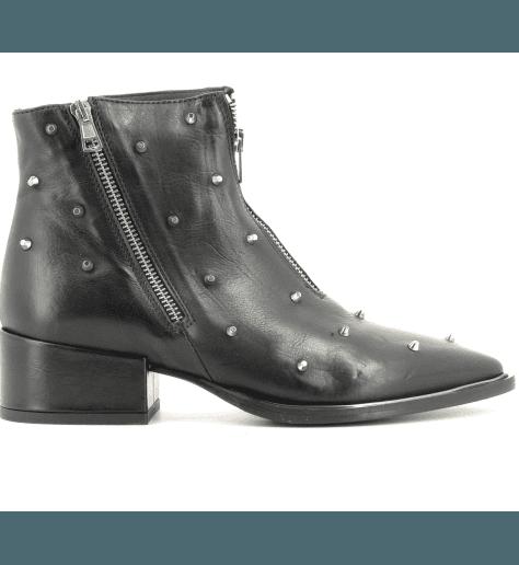 Bottines à talons en cuir noir 4890- Garrice Collection
