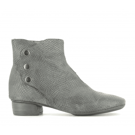 Bottines en cuir estampillée gris 823204GR- Garrice Collection
