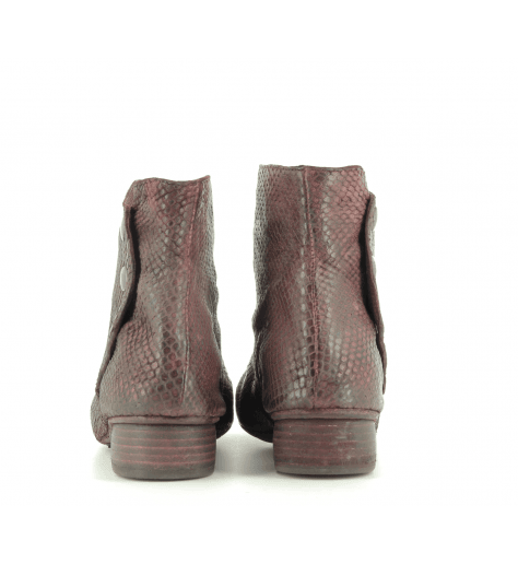 Bottines en cuir estampillée bordeau 823204BORD- Garrice Collection