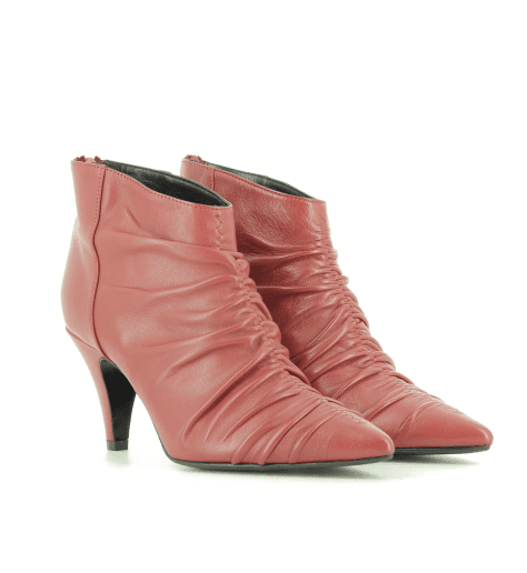 Bottines à talon en cuir rouge EF616R- Garrice Collection