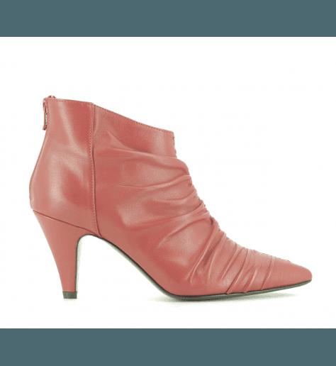 Bottines à talon en cuir rouge EF616R- Garrice Collection