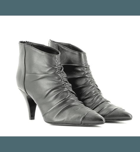 Bottines à talon en cuir noir EF616N- Garrice Collection