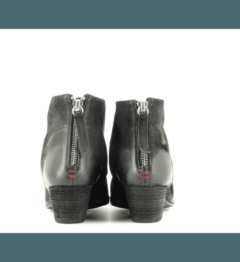 Bottines  en cuir noir  JULIEN01  - Halmanera