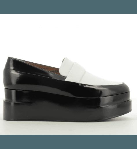 Mocassins à semelle épaisse noir et blanc LYNN- Robert Clergerie
