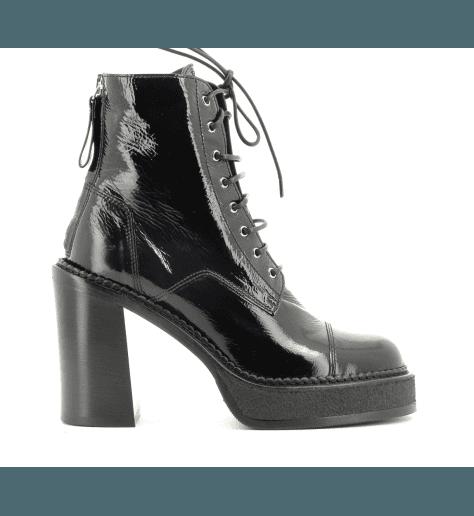 Bottines Semelle épaisse en cuir noir à talon M4959 - PREMIATA