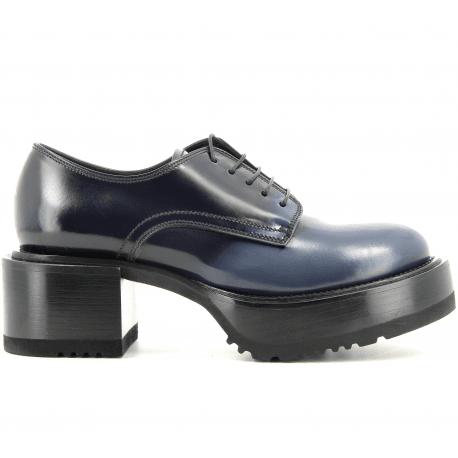 Derbies Semelle épaisse en cuir noir et bleu M5047- PREMIATA